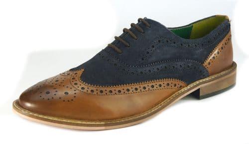 Frank James Zeno Tan / Navy Brogue Shoes